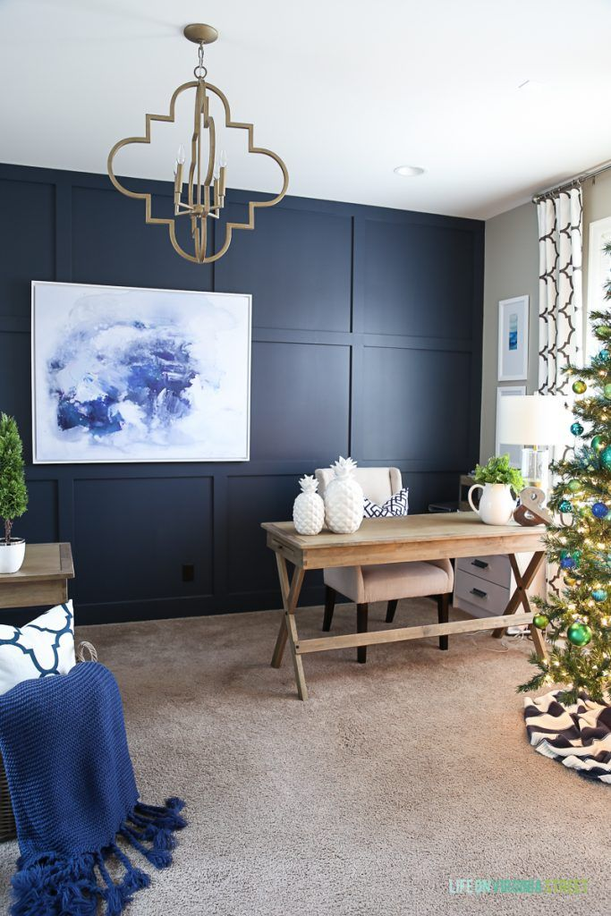 home office wall color. Blue And Green Christmas Home Office Decor. Wall Color Is Benjamin Moore Hale Navy. N