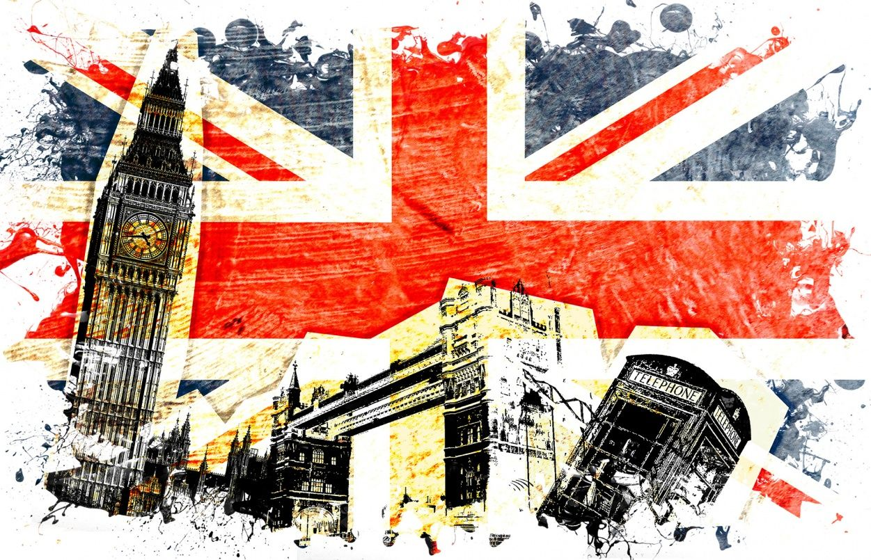 In The Background A Lusciously Painted Union Jack With Splash Effects And Foreground Simple Cut Out Symbols Of London