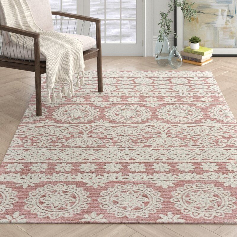 Gustin Hand Tufted Wool Dusty Pink Area Rug Area Rugs Rugs