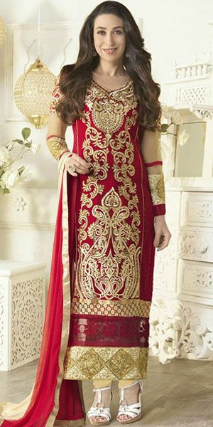 Glam up your monotonous style with baby doll in this red georgette straight suit with chiffon dupatta featuring fancy thread foliage pattern embroidery on the overall part of the kameez, and patch work on the backside.