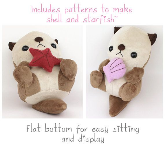 pdf sewing pattern sea otter plush stuffed animal tutorial with