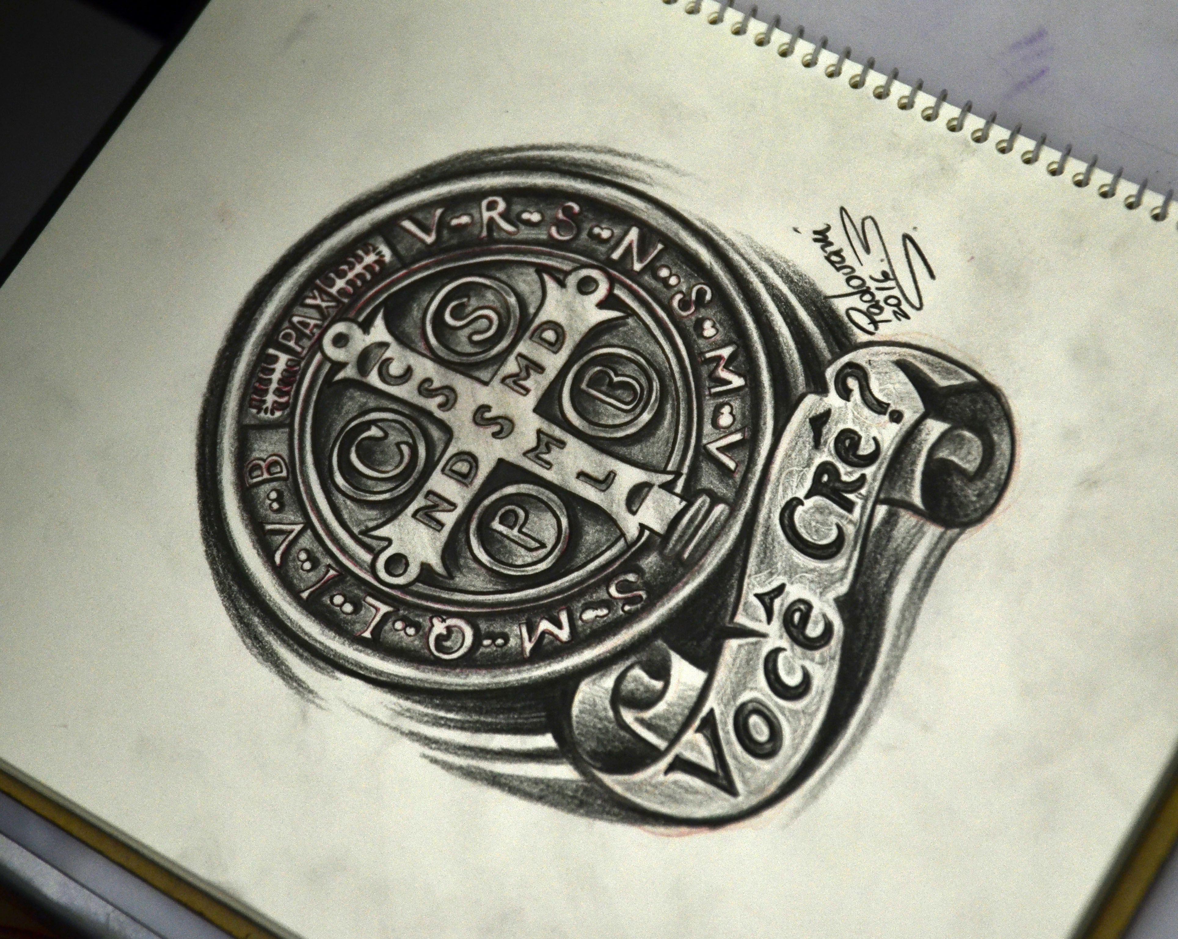 medalha de sao bento desenho para tatuagem thiago padovani tattoos pinterest tatoo. Black Bedroom Furniture Sets. Home Design Ideas