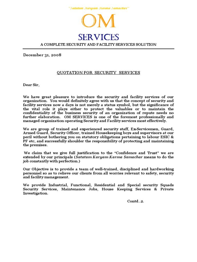 Om Services Quotationdoc Security Guard Labour Security Guard