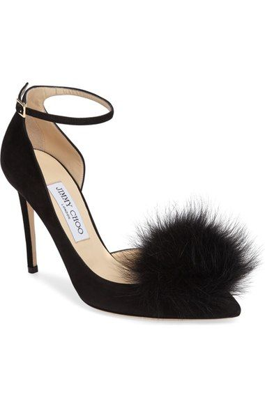 5bcfe3acd43 JIMMY CHOO Rosa Pump with Genuine Fox Fur Pom Charm (Women).  jimmychoo   shoes  pumps