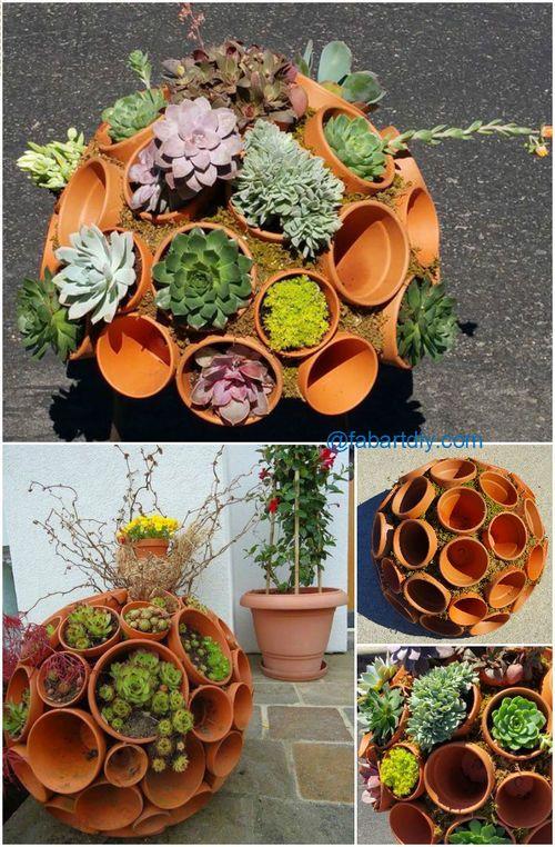diy succulent clay pot planter sphere garden art