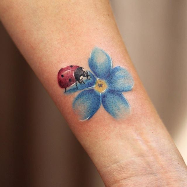 best Small Forget Me Not Flower Tattoo ... | Lady bug ...