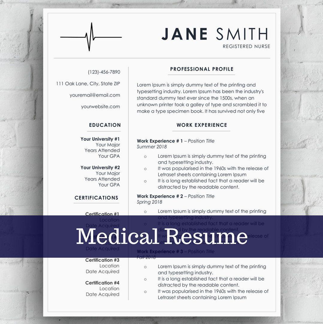 Nurse Resume/CV Template Medical Cover Letter Easy to
