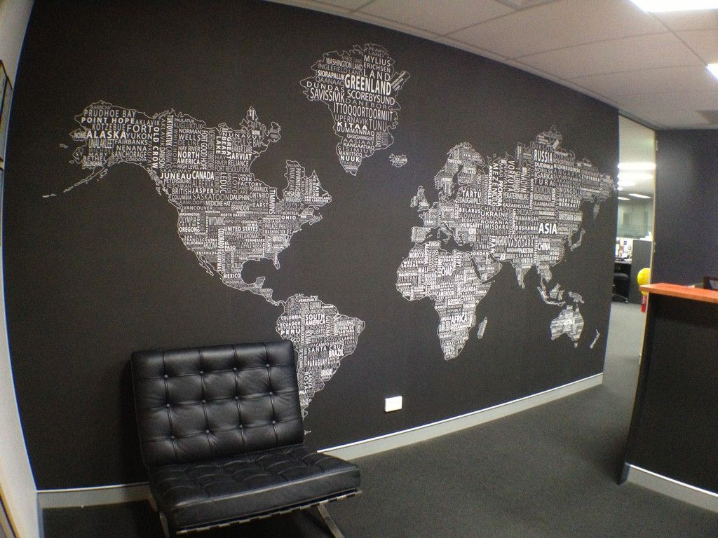 Beautiful Decorating, World Map Wall Decor For Modern Office Design With Black And  White Color Schemes