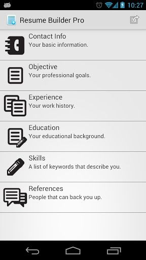Resume Builder Pro v1.32 apk Requirements: Android 2.1+ Overview ...