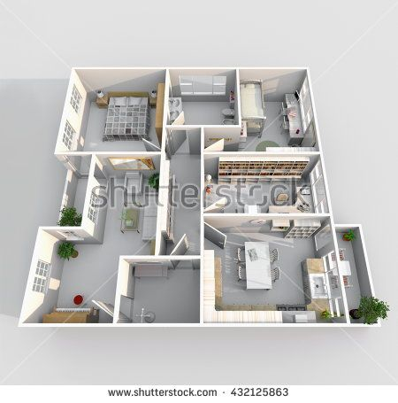 3d Interior Rendering Perspective View Of Big Furnished Home Apartment With Balcony Room Bathroom Kitchen LivingLiving RoomEntrance
