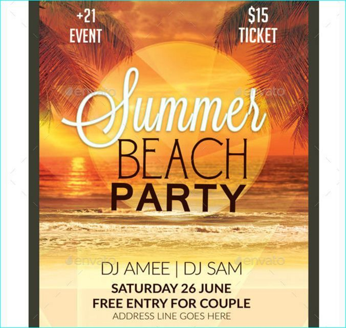 Summer Beach Party Flyer - Party Flyer Templates For Clubs - beach party flyer template