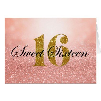 Rose Gold Sweet 16 Glitter Lights Thank You Card Sweet 16 - anniversary card template
