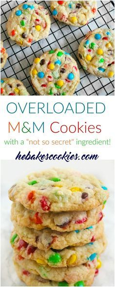 Overloaded M&M cookies- soft, perfectly crunchy edges and loaded with…