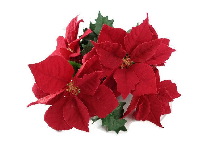 Artificial Red Poinsettia Bush With Holly Berries Silk Poinsettia Silk Flower Artificial Flower Fake Flower R Fake Flowers Artificial Flowers Silk Flowers