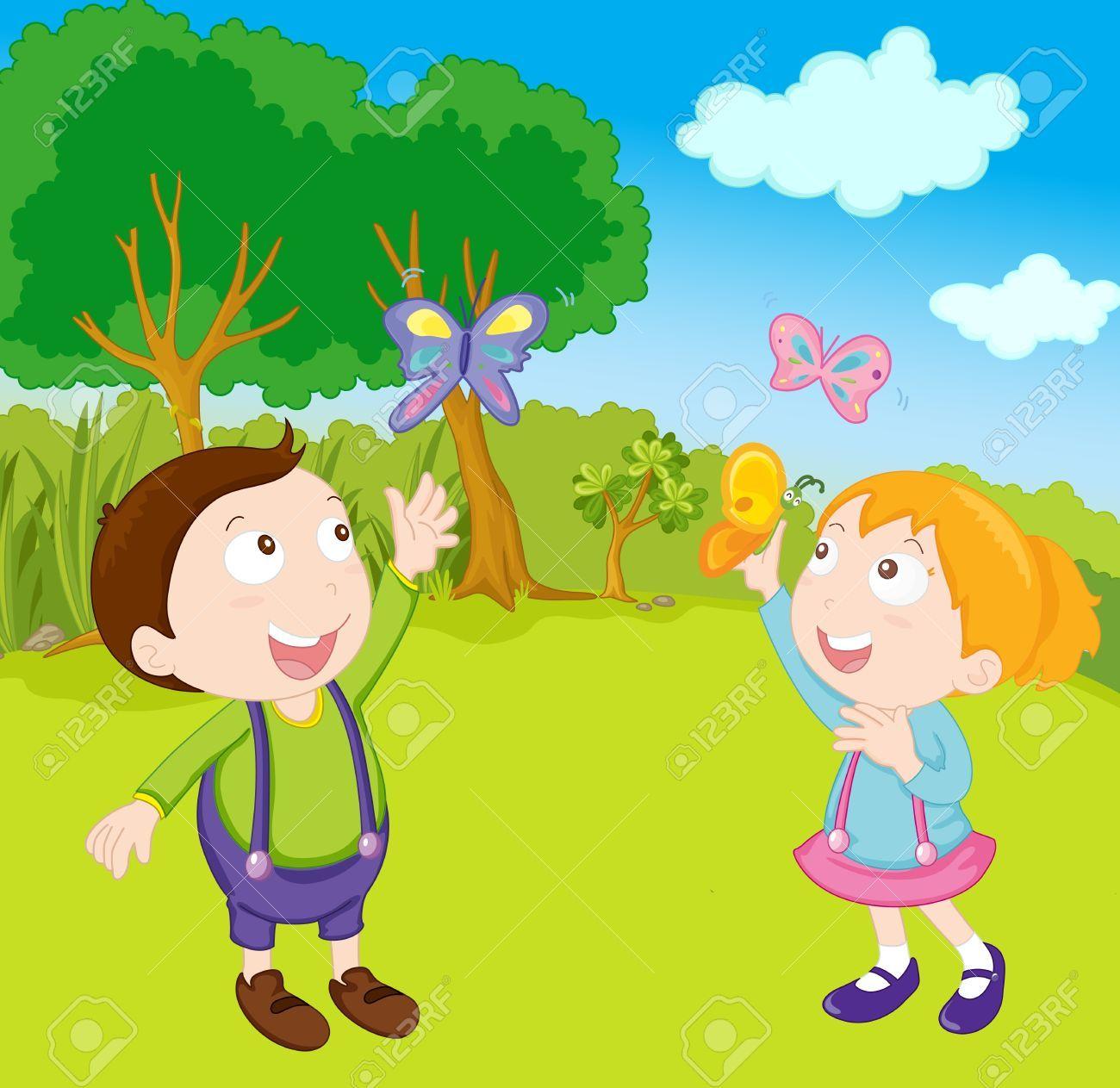 Children Playing Illustration