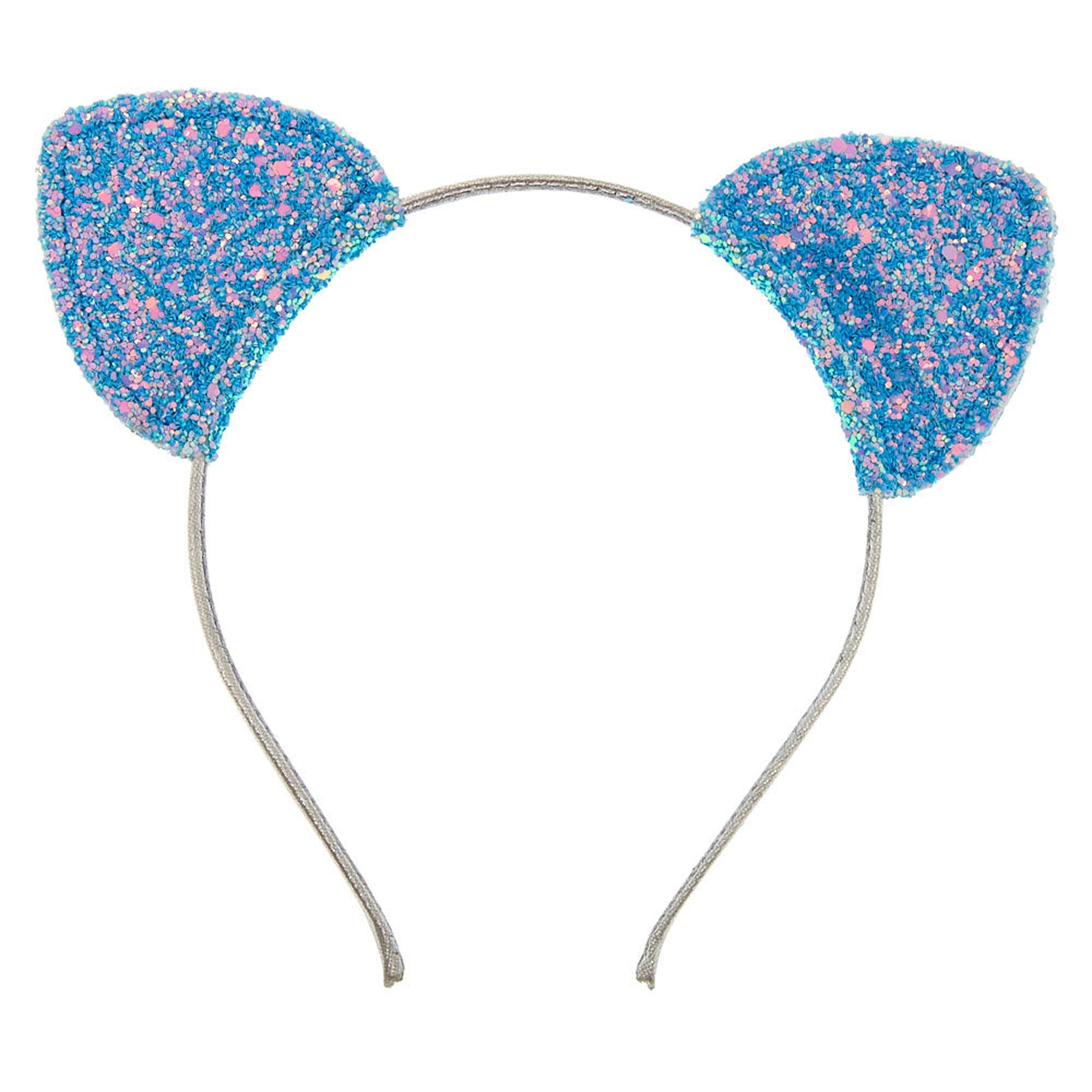 Baby Blue Glitter Cat Ears Headband Claire S Us Glitter Cat Ears Cat Ears Headband Blue Glitter