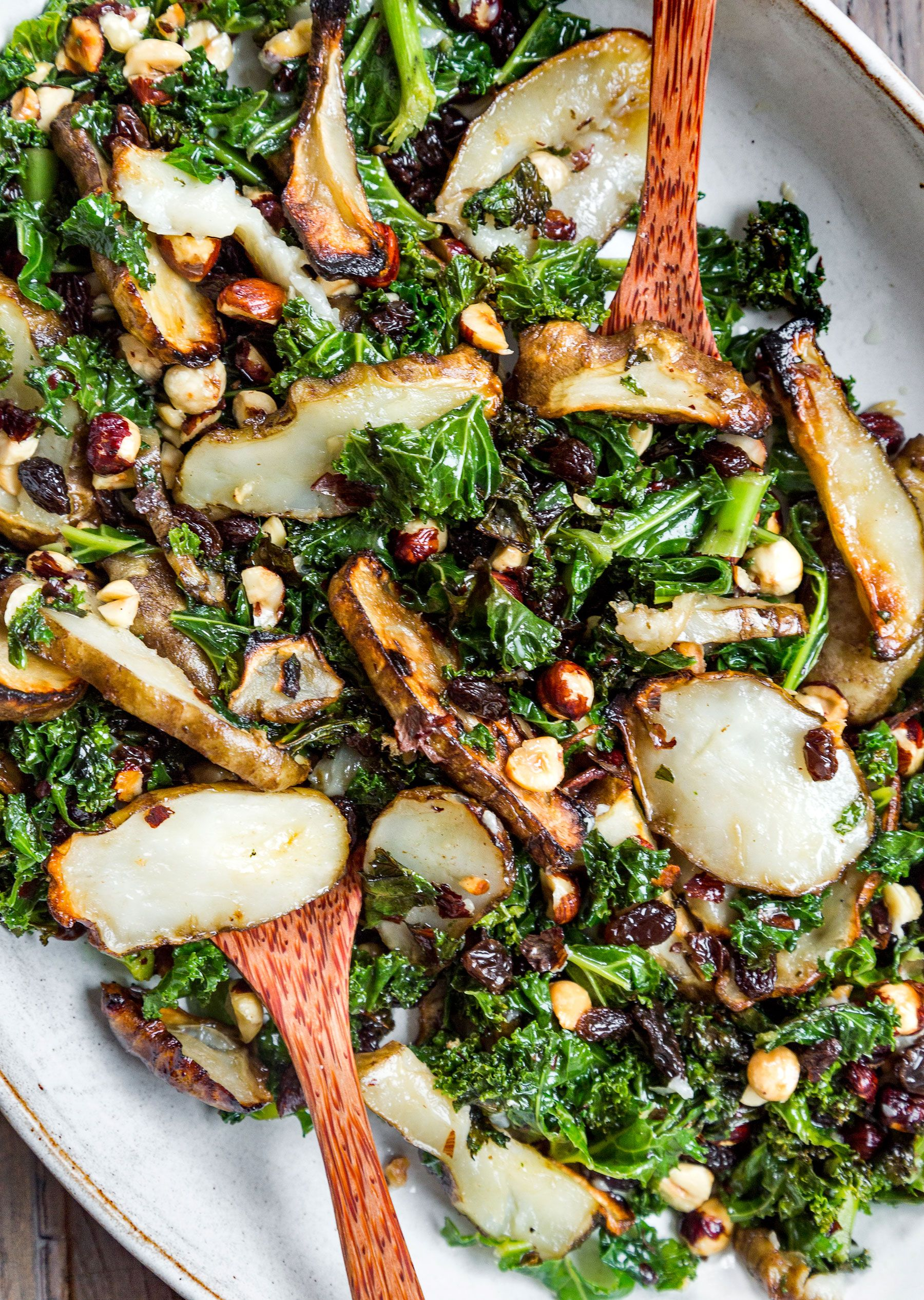 Roasted Jerusalem Artichoke Hazelnut And Kale Salad Deliciouslyella Artichoke Recipes Artichoke Recipes Healthy Jerusalem Artichoke Recipe