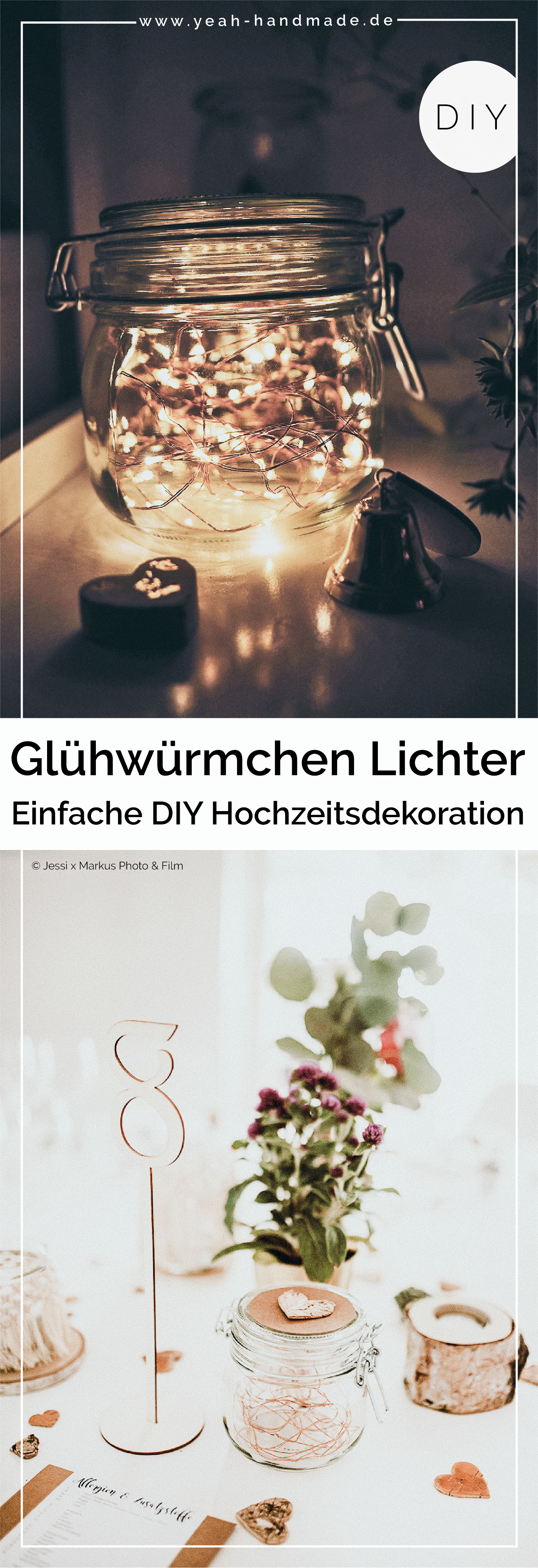 Photo of DIY wedding decoration: glasses with firefly lights