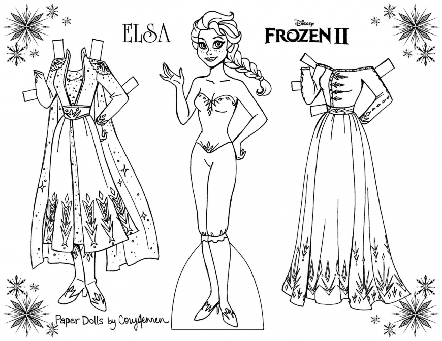 Frozen 2 Coloring Paper Dolls Of Elsa And Anna Paper Dolls Frozen Paper Dolls Paper Doll Template