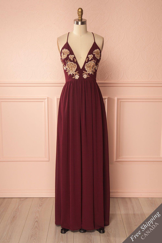 Burgundy embroidered beads flowers maxi dress - Robe longue bourgogne à  broderies de fleurs en billes