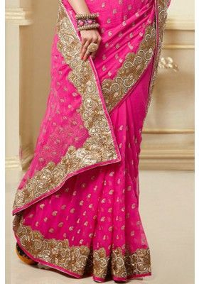 Hot Magenta #Chiffon Georgette Embroidered #Party and #Festival Saree Sku Code: 41-4135SA510285 US $123.00 http://www.sareez.com/hot-magenta-chiffon-georgette-embroidered-party-and-festival-saree.html