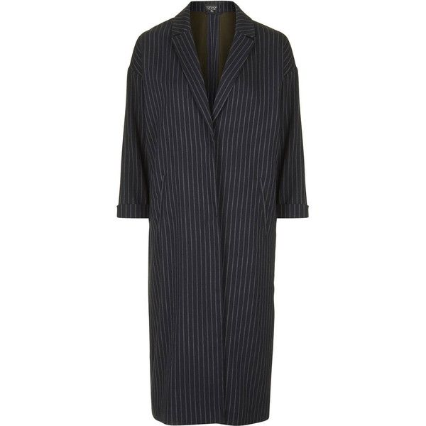TopShop Bonded Pinstripe Duster Coat (£79) ❤ liked on Polyvore featuring outerwear, coats, jackets, topshop, navy blue, duster coat, topshop coat, pinstripe coat and navy blue coat