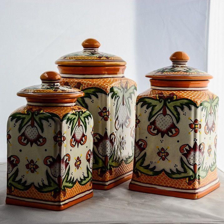 Talavera Canister Set Lotus Decor Furniture Shop