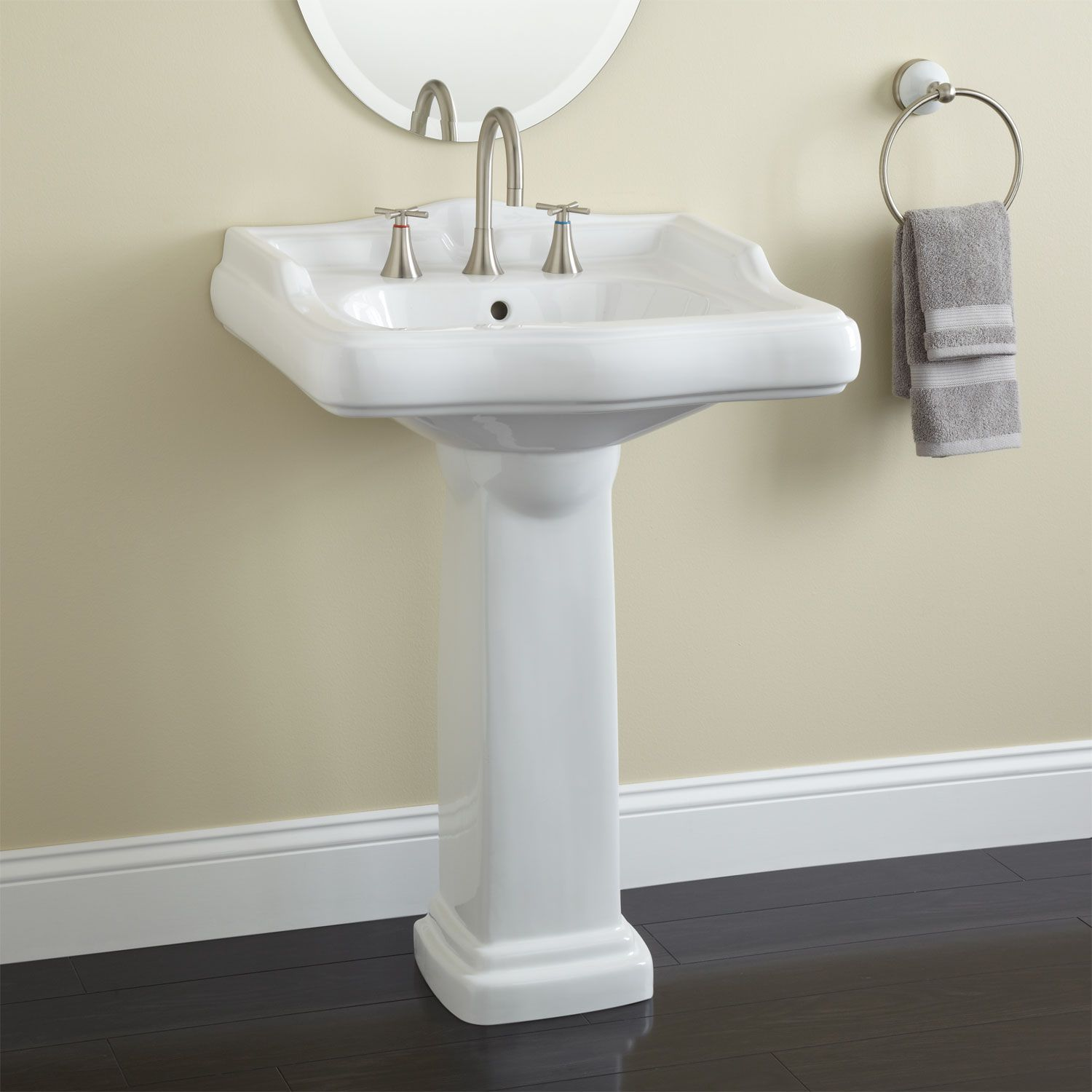 The Dawes Pedestal Sink Makes A Fantastic Addition To Traditional Bathrooms This Two Piece Pedestal Sink Is Made Of Pedestal Sink Bathroom Sink Pedestal Sinks