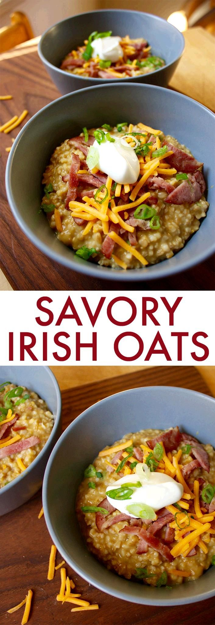 Savory Irish Oats With Turkey Bacon Cheddar And Chives Recipe Food Recipes Healthy