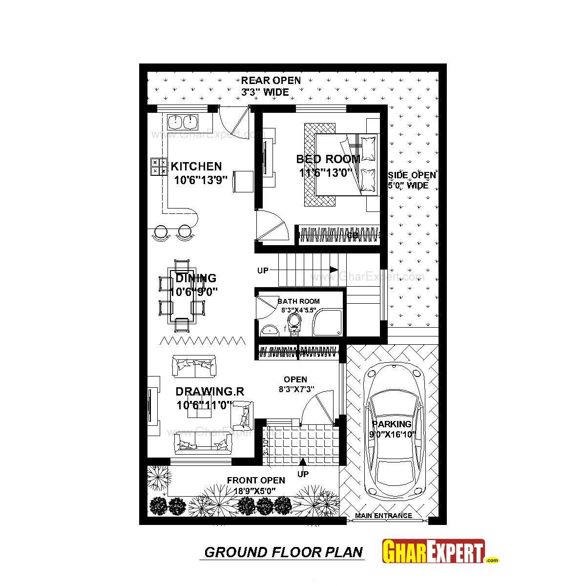 House Plan For 30 Feet By 45 Feet Plot Plot Size 150 Square Yards Gharexpert Com 20x30 House Plans How To Plan House Plans