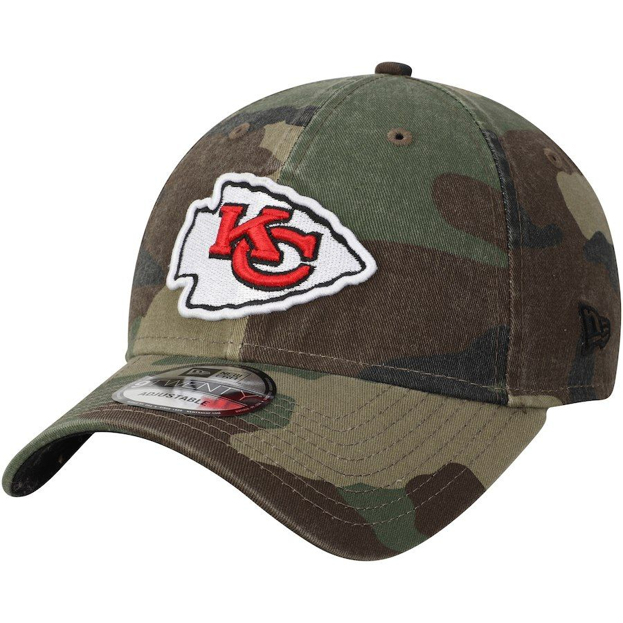 sale retailer 3f471 0064f Men s Kansas City Chiefs New Era Woodland Camo Primary Logo Core Classic  9TWENTY Adjustable Hat,