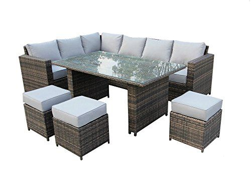 Yakoe Conservatory Clical Range 9 Seater Rattan Garden Furniture Corner Dining Set Brown