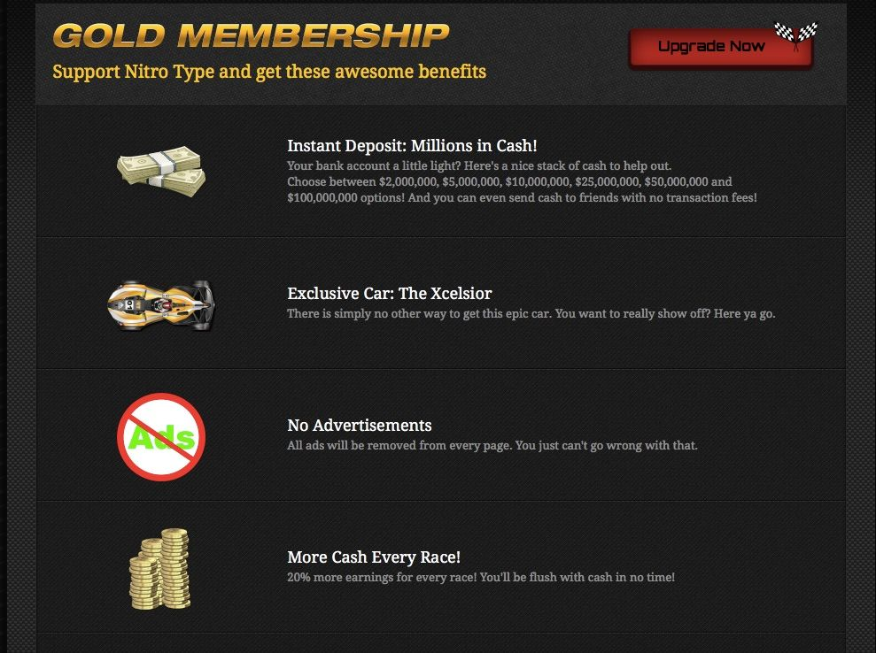 How To Get A Free Gold Membership On Nitro Type