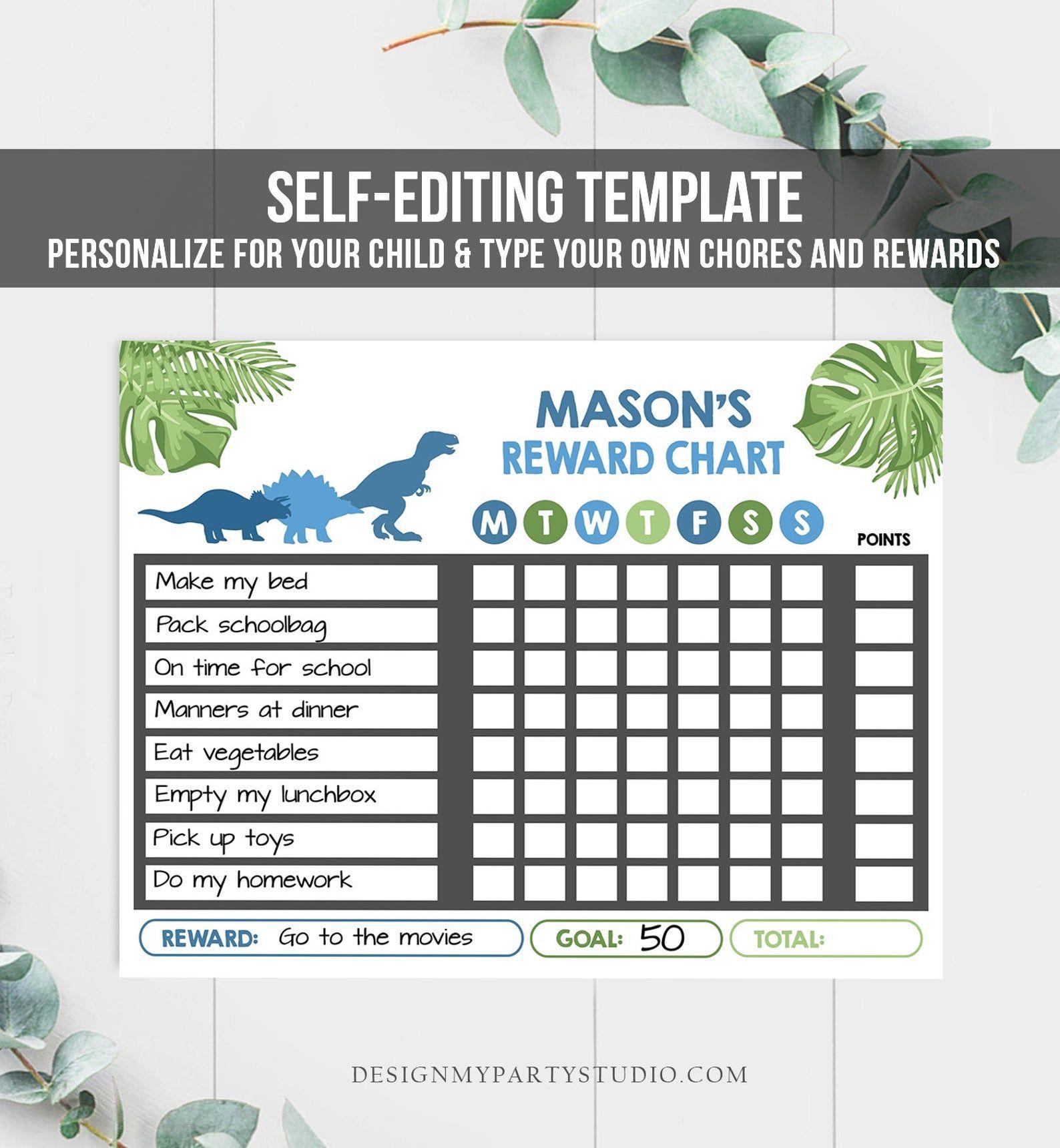 Editable Dinosaur Reward Chart For Boys Printable Dino