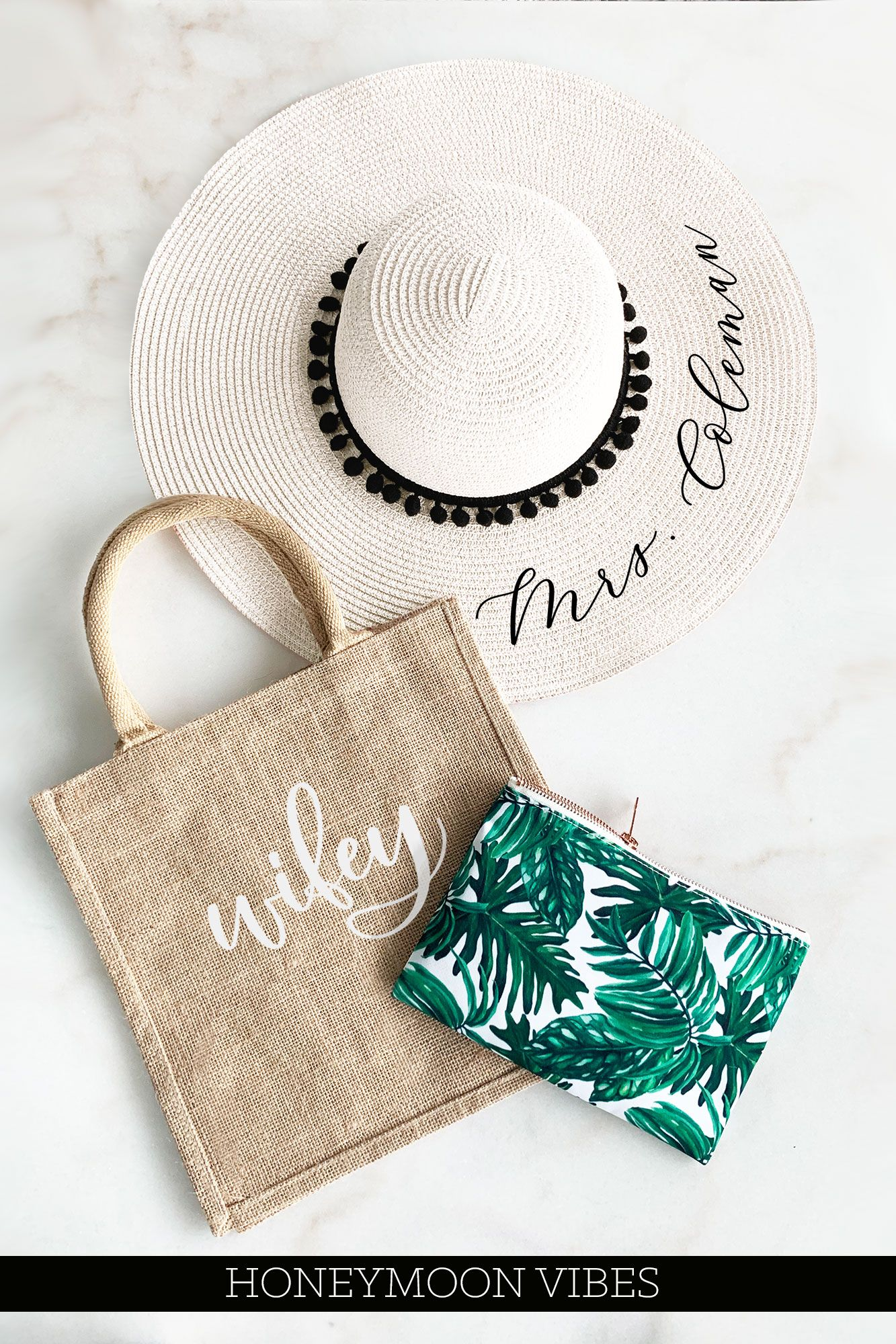 Personalized Beach Hat Wifey Tote Bag And A Palm Leaf Makeup Bag