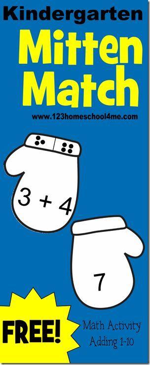 FREE Mitten Match Math Game | Mittens, Kindergarten and Homeschool