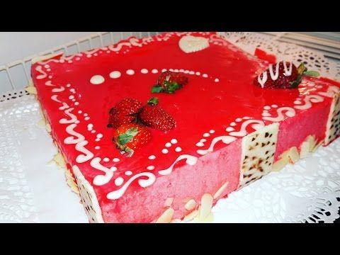 طرطة راقية في الشكل بالفراولة الفريز و المغطات بالكلاصاج الجليز فديو مشترك Youtube Cake Desserts Food