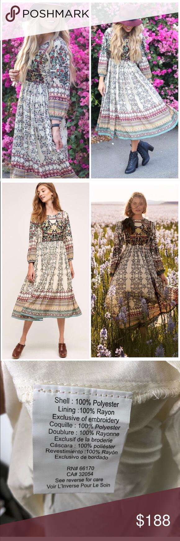 9258cab265194 NWOT Anthropologie Bhanuni Far Fields Maxi Dress Bhanuni Far Fields Maxi  Dress Long Sleeve A beautifully