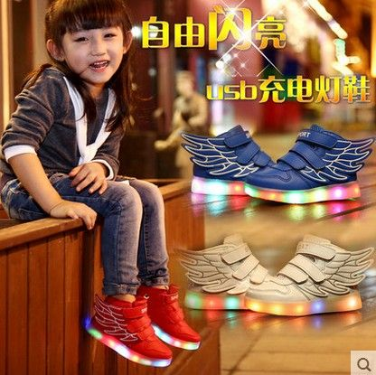 (Buy here: http://appdeal.ru/29ep ) Children's shoes boys spring  luminous LED lighted shoes girls Colorful LED USB charging wings for just US $39.00
