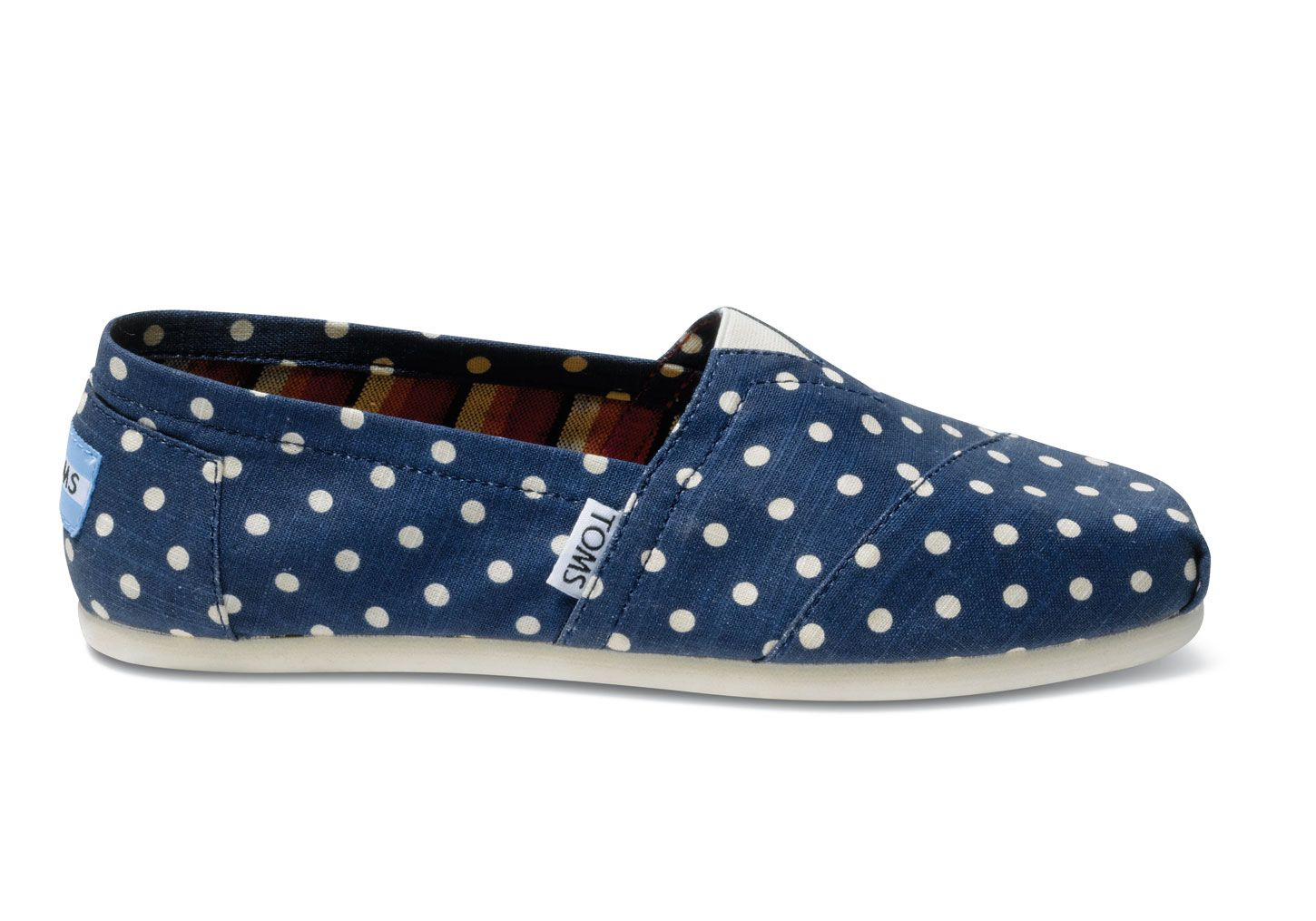 Read product features of Navy Polka Dots Linen Women's Classics - TOMS  Women's Sale Shoes Blue,Blue,White.