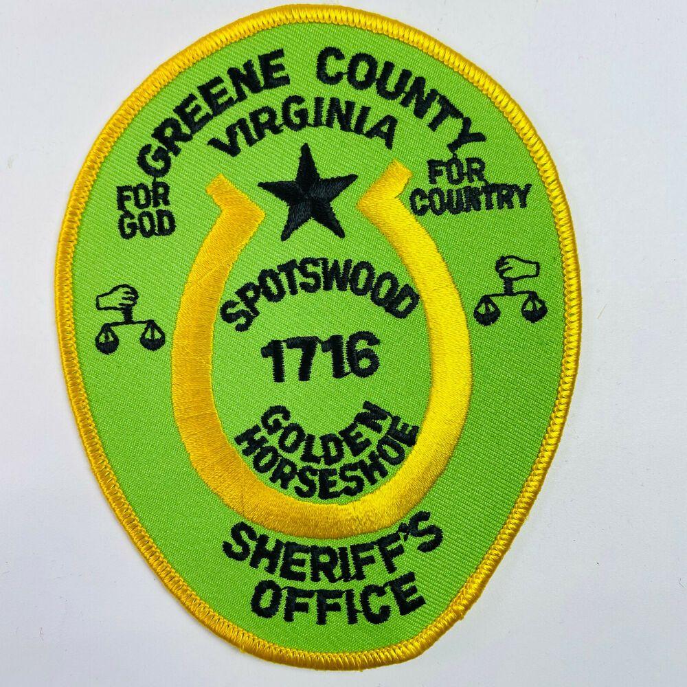 Greene County Sheriff Spotswood Golden Horseshoe Virginia Va Patch B7 C In 2021 County Sheriffs Sheriff Spotswood