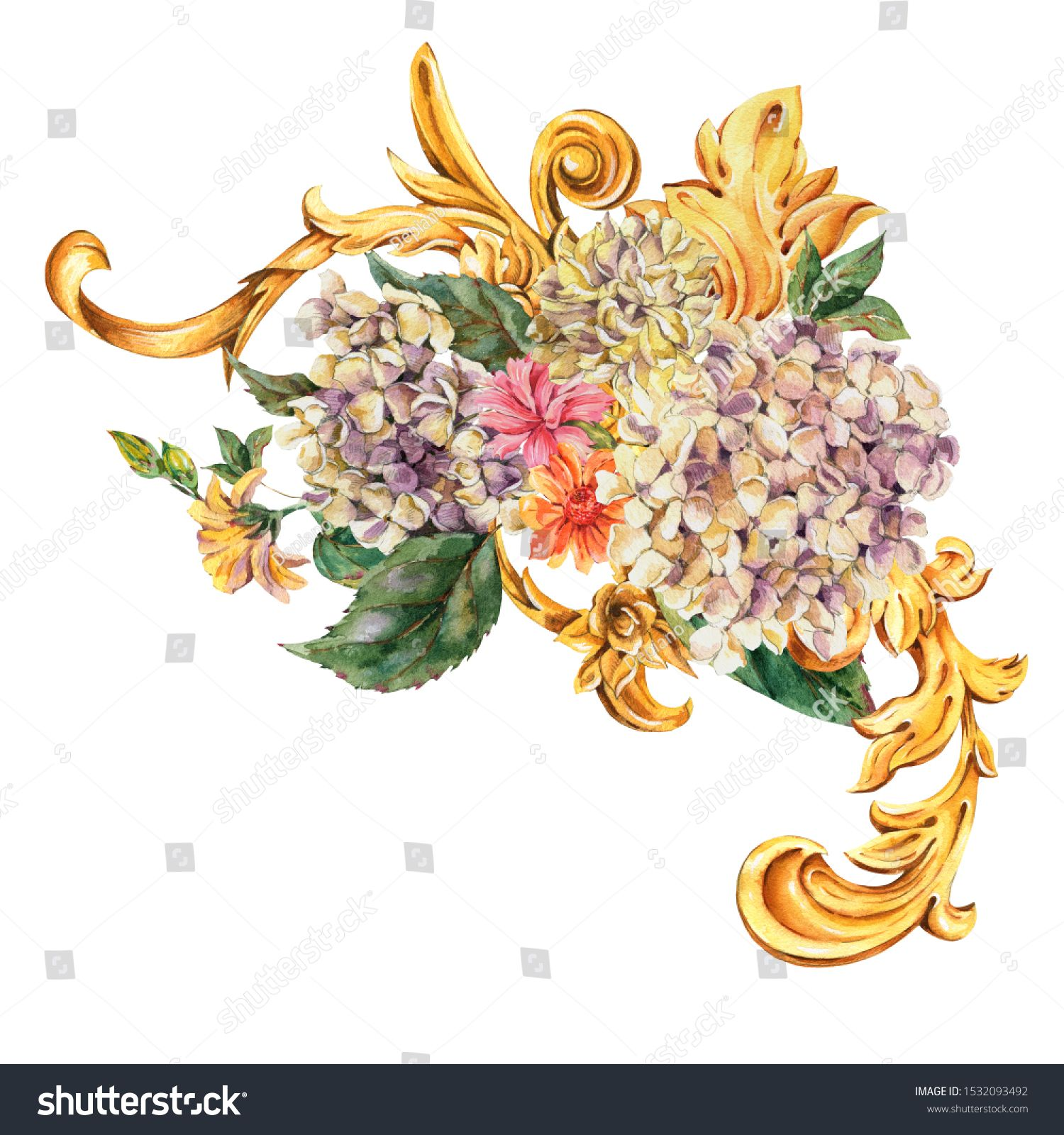 Watercolor Golden Baroque Floral Curl Hydrangea Wild Flowers Rococo Ornament Element Natural Gold Scroll Leaves Isolated In 2020 Vintage Flowers Floral Watercolor