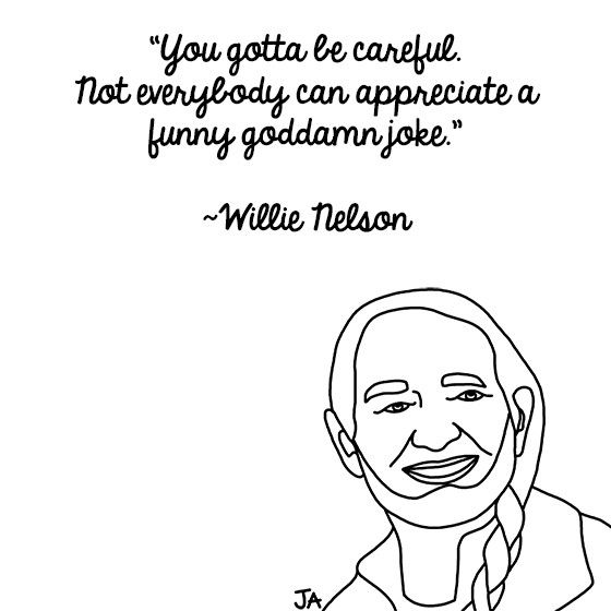 Life Lessons From Wilie Nelson. Illustration by Jena Ardell for OC Weekly Music. #willienelson