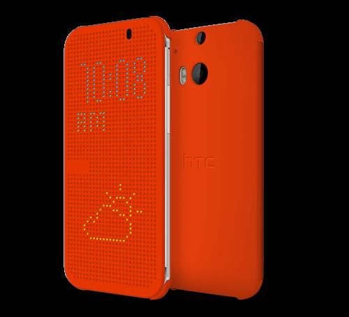 HTC One (M8) Dot View Case Orange View app, Htc one m8