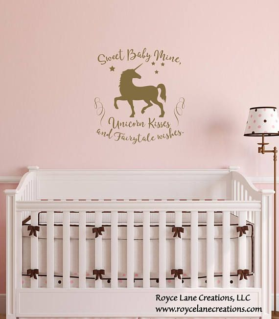 Unicorn Kisses and Fairytale Wishes Unicorn Nursery Decal ...