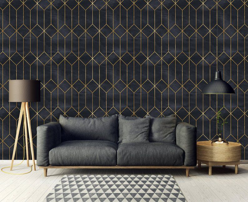 Removable Wallpaper Peel And Stick Geometric Wallpaper Etsy Geometric Wallpaper Art Deco Wallpaper Art Deco Living Room
