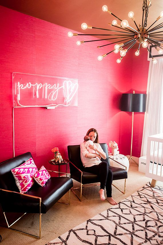 Modern hot pink, black and white nurseryinspired nursery by Shannon ...