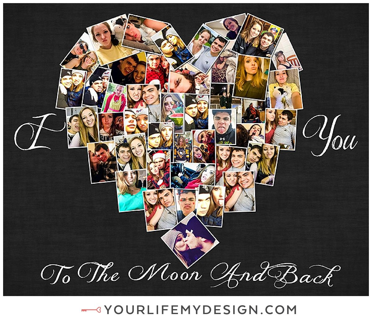 8x10 With 43 Photos Heart Collage I Love You To The Moon