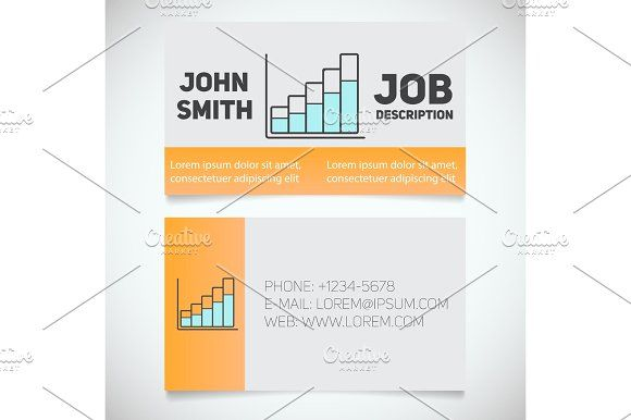 Business card print template with income growth chart logo - income template