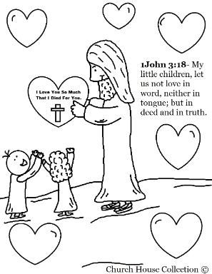 Jesus With Heart Valentine Coloring Page (With images